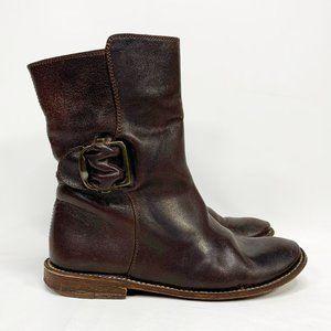 FRYE Dark Brown Leather Boots Side Buckle Detail